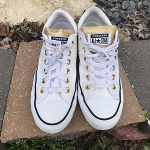 Converse All Star Glittery Gold & White Shoes